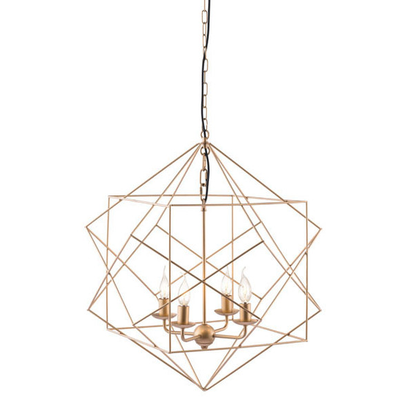 """24.8"""" X 24.8"""" X 72.8"""" Gold Painted Metal Ceiling Lamp"""