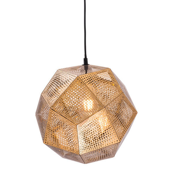 "13.4"" X 13.4"" X 132.3"" Gold Electroplated Metal Ceiling Lamp"