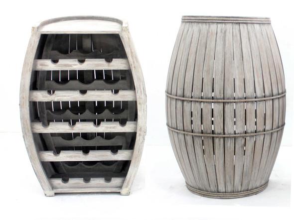 "14.75"" x 22"" x 31.5"" Gray, Antique, Half-Barrel Shaped, Wooden - Wine Rack"