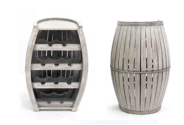 "13"" x 18.75"" x 28"" Gray, Small, Antique, Half-Barrel Wooden - Wine Rack"