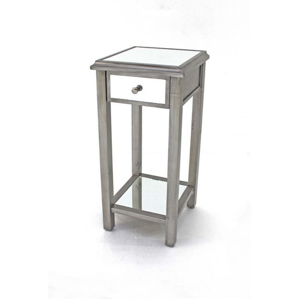 "14.25"" x 14.25"" x 29.75"" Silver, 1 Drawer, Coastal Style, Mirrored - End Table"