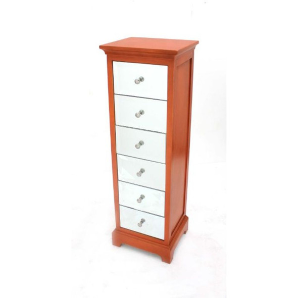 "11.75"" x 13.75"" x 43"" Orange, 6 Drawer, Rustic Style - Chest"