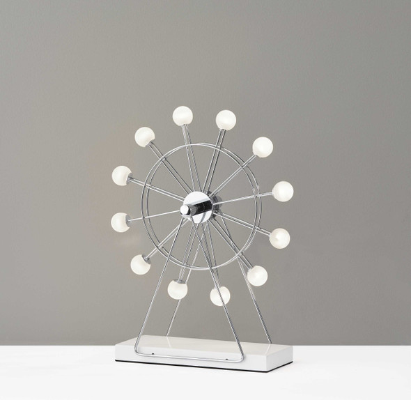 "12"" X 4"" X 15.25"" Chrome Metal Small LED Ferris Wheel Lamp"