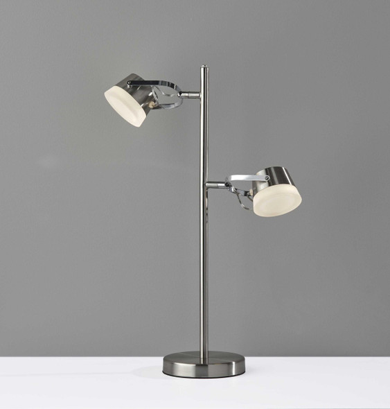 """15"""" X 6"""" X 21.75"""" Brushed steel Metal LED Table Lamp"""