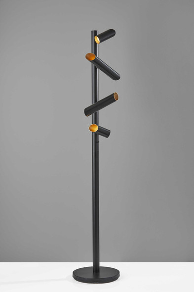 "14"" X 14"" X 72"" Black Metal LED Floor Lamp"