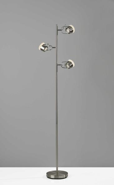 "15"" X 9"" X 63.25"" Brushed steel Metal LED Tree Lamp"