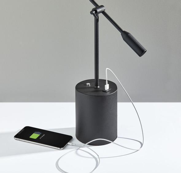 """21.5"""" X 4.75"""" X 15-27"""" Black Metal LED Desk Lamp"""