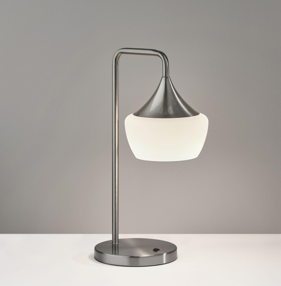 "8"" X 11.5"" X 20.25"" Brushed steel Metal Table Lamp"