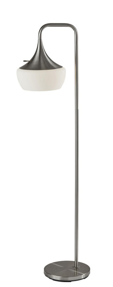 "12"" X 18"" X 63.5"" Brushed steel Metal Floor Lamp"