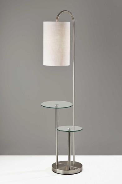 """20"""" X 13"""" X 66"""" Brushed steel Metal/Glass Shelf Floor Lamp"""