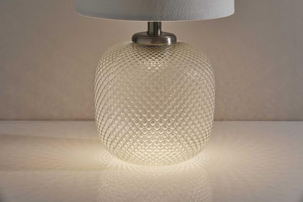 "11"" X 11"" X 21.25"" Brushed steel Metal Table Lamp w. Night Light"