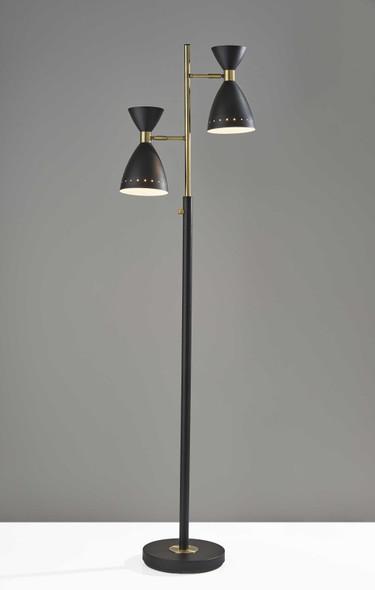 """25"""" X 12.75"""" X 68"""" Black Metal Tree Lamp"""