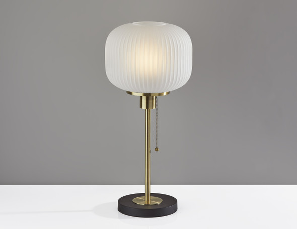 "10"" X 10"" X 22"" Antique Brass Glass/Metal Table Lamp"