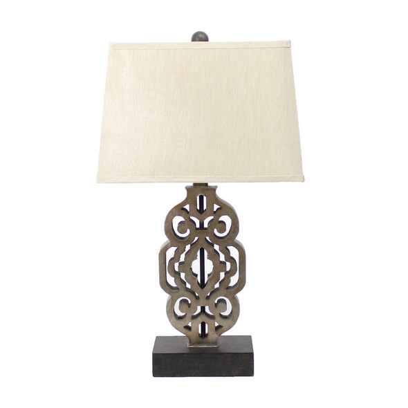 "27"" x 1"" x 8"" Brown, Metal, Floral Based - Table Lamp"