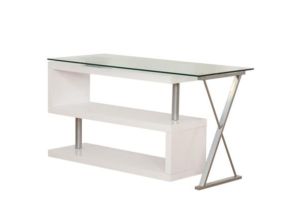"55"" X 47"" X 30"" White High Gloss amp; Clear Glass Office Desk"