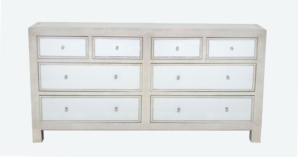 "18"" x 72"" x 36"" Silver, Mirrored, 8 Drawer - Console Table"