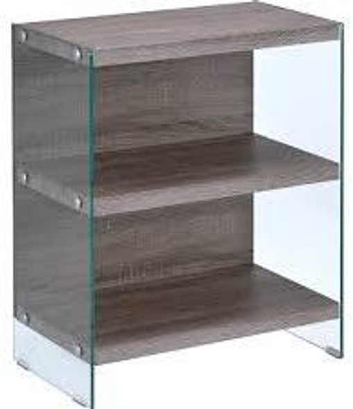 "24"" X 12"" X 30"" Clear Glass And Gray Oak Bookcase"