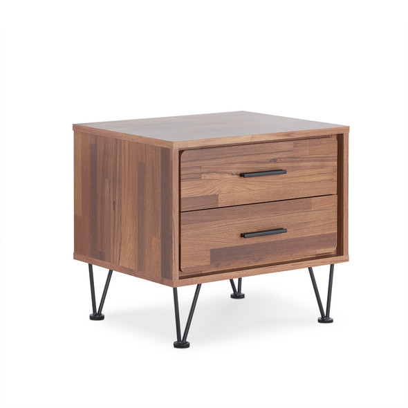 "19'.69"" X 15'.75"" X 17'.93"" Walnut Particle Board Nightstand"