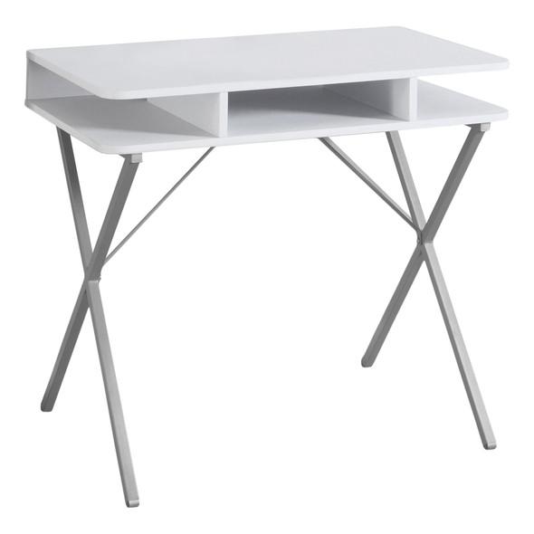 """19'.75"""" x 31'.5"""" x 29'.75"""" White, Silver, Metal - Computer Desk"""