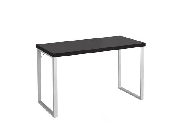 "23'.75"" x 47'.25"" x 30"" Cappuccino, Silver, Particle Board, Hollow-Core, Metal - Computer Desk"
