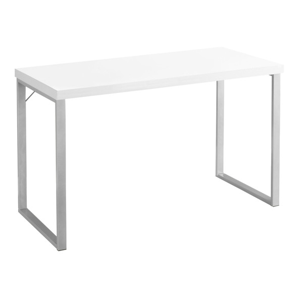 "23'.75"" x 47'.25"" x 30"" White, Silver, Particle Board, Hollow-Core, Metal - Computer Desk"