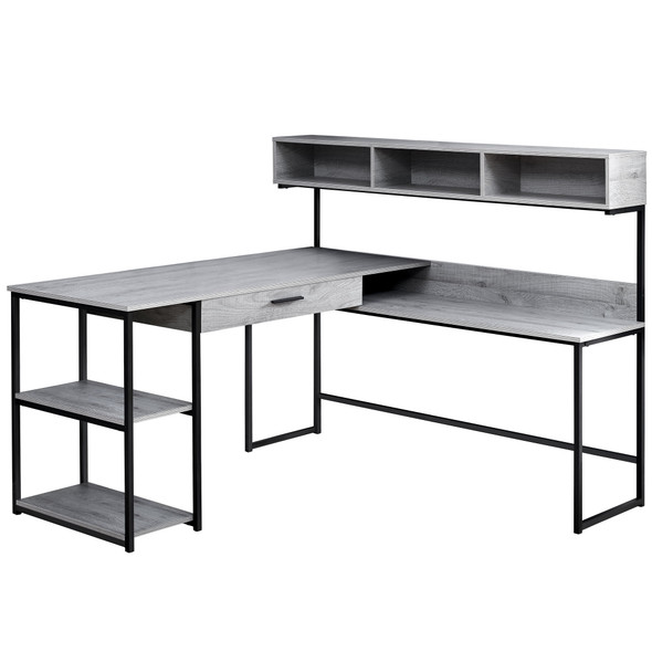 "59"" x 59"" x 47'.25"" Grey, Black, Metal - Corner Computer Desk"