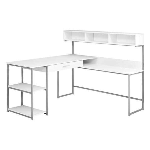 "59"" x 59"" x 47'.25"" White, Silver, Metal - Corner Computer Desk"
