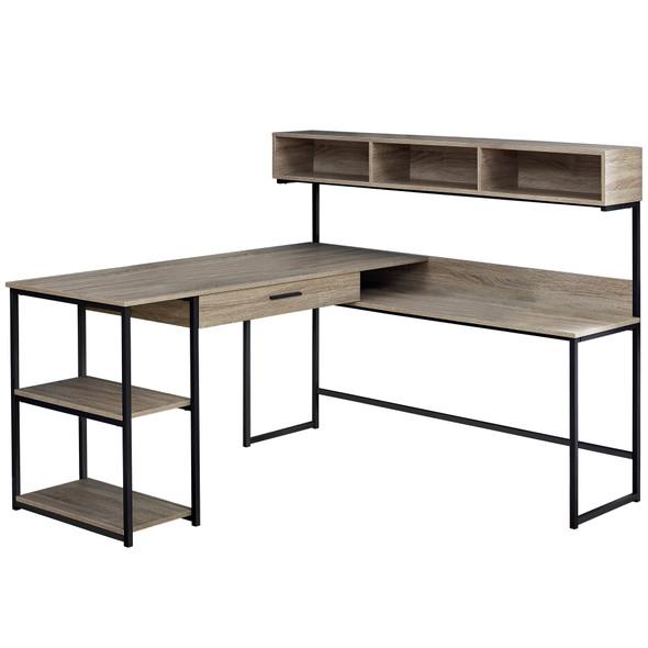 "59"" x 59"" x 47'.25"" Taupe, Black, Metal - Corner Computer Desk"