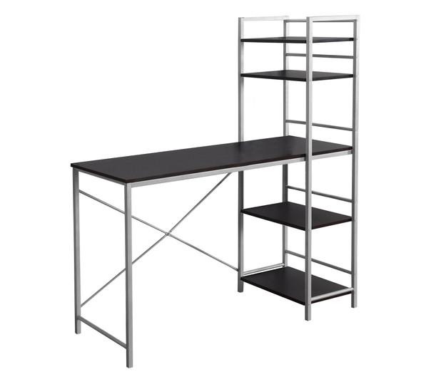 "18'.5"" x 47'.25"" x 55"" Cappuccino, Silver, Mdf, Metal - Computer Desk"