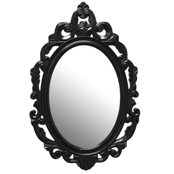 "15.25"" X 0.5"" X 23.25"" Black Baroque Mirror"