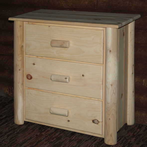 """21"""" X 20"""" X 24"""" Natural Wood 3 Drawer Chest"""