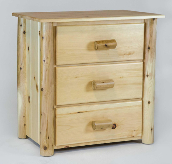 """21"""" X 20"""" X 24"""" Clear Wood 3 Drawer Chest"""
