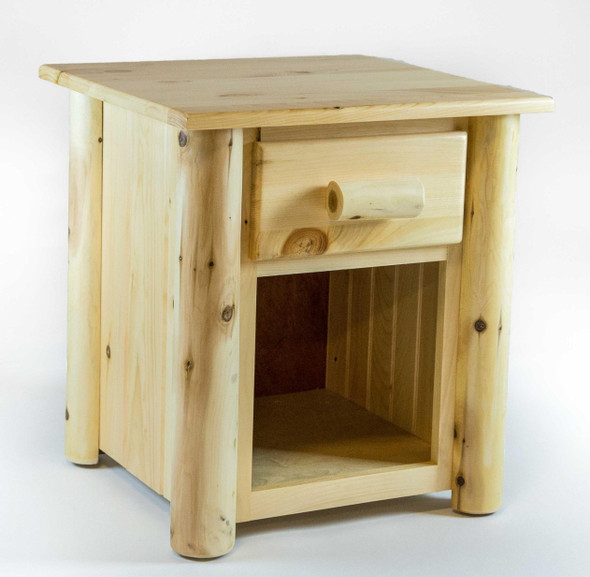 """21.5"""" X 23"""" X 23"""" Clear Wood 1 Drawer Nightstand"""