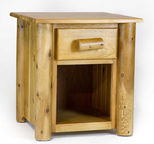"""21.5"""" X 23"""" X 23"""" Light Honey Wood 1 Drawer Nightstand"""