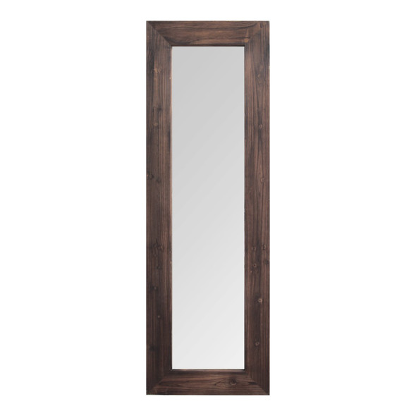 "15.94"" X 1.26"" X 48.03"" Dark Natural Wood Long-Length Design Mirror"