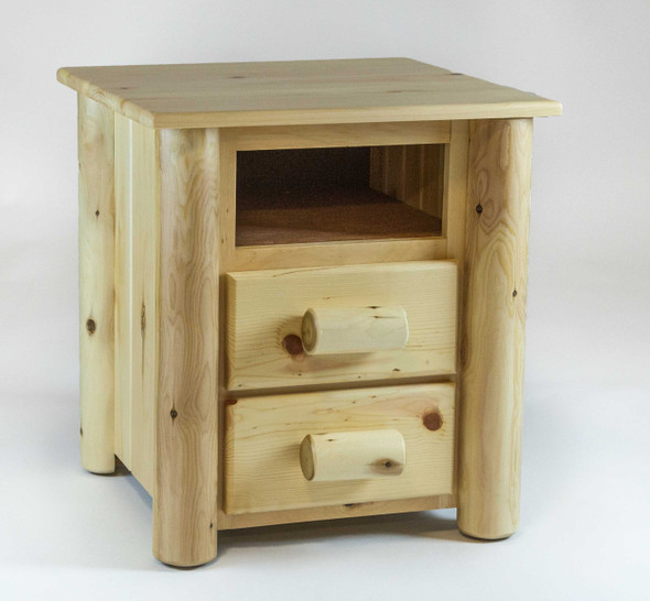 """21.5"""" X 23"""" X 23"""" Clear Wood 2 Drawer Nightstand"""