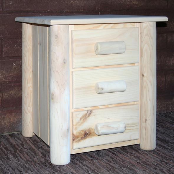 "21"" X 20"" X 24"" Natural Wood 3 Drawer Nightstand"