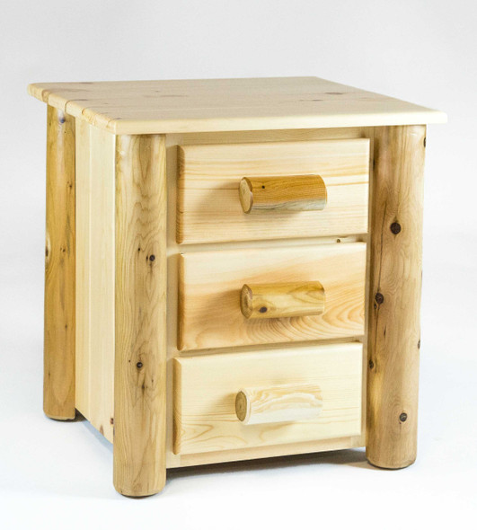 """21.5"""" X 23"""" X 23"""" Clear Wood 3 Drawer Nightstand"""