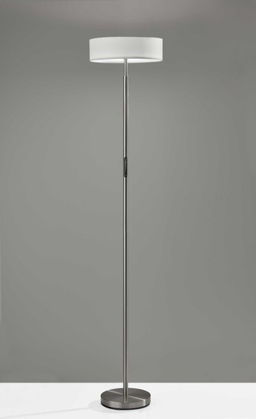 """14"""" X 14"""" X 71.5"""" Brushed Steel Metal LED Torchiere"""