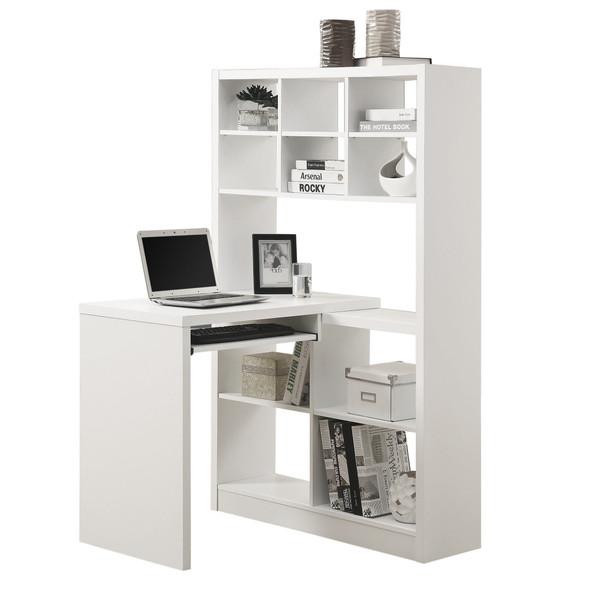 "38"" x 35'.5"" x 60"" White, Particle Board, Hollow-Core - Computer Desk"