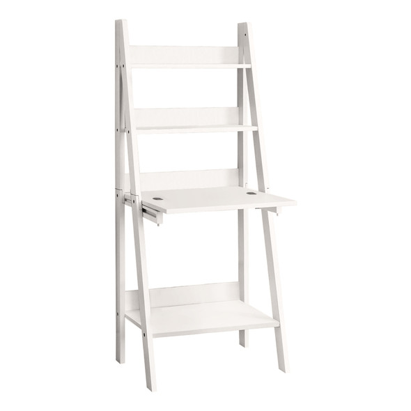 """19"""" x 25'.5"""" x 61"""" White, Ladder Style - Computer Desk"""