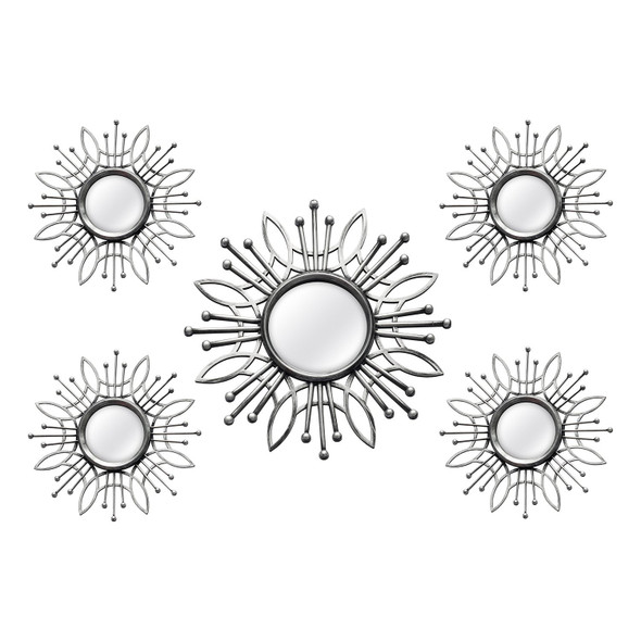 "15.5"" X 0.79"" X 15.5"" 5Pcs Silver Burst Wall Mirror"
