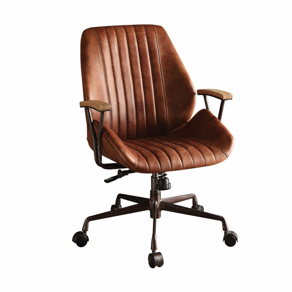 "24"" X 28"" X 37-40"" Cocoa Top Grain Leather Office Chair"