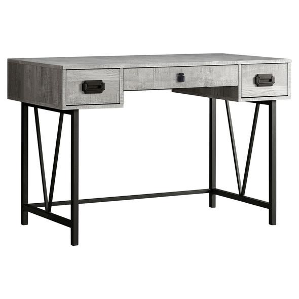 "23'.75"" x 47'.25"" x 30'.75"" Grey, Black, Particle Board, Hollow-Core, Metal - Computer Desk"