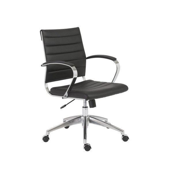 "22.75"" X 26.26"" X 38"" Low Back Office Chair in Black with Aluminum Base"