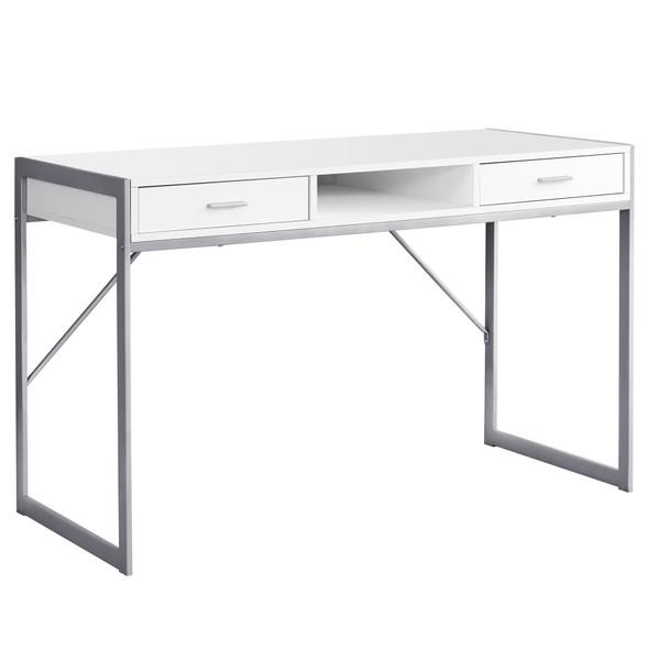 """22"""" x 48"""" x 30"""" White, Silver, Metal - Computer Desk"""