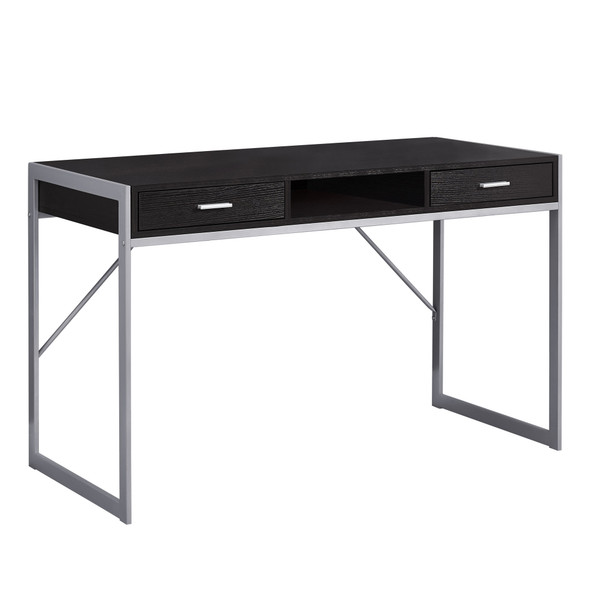 "22"" x 48"" x 30"" Cappuccino, Silver, Metal - Computer Desk"