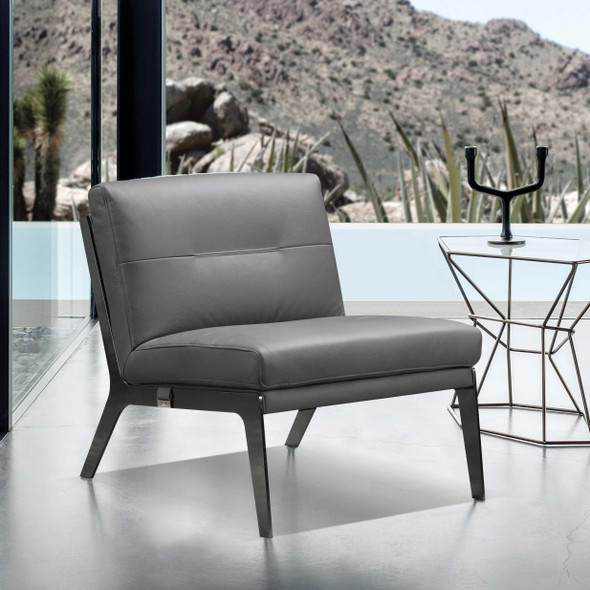 """30"""" X 33"""" X 31"""" Dark Gray Leather Accent Chair"""