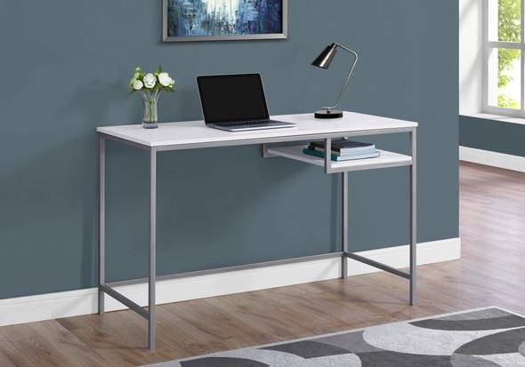 "30"" White MDF and White Metal Computer Desk"