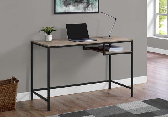 "30"" Dark Taupe MDF and Black Metal Computer Desk"